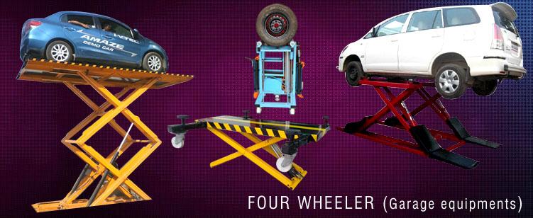 Four Wheeler Hydraulics : Four wheelar garage equipments manufacturers in india
